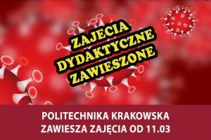 Politechnika Krakowska zawiesza zajęcia dydaktyczne