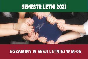 Egzaminy w sesji letniej roku akademickiego 2020/2021 – jednostka: M-06