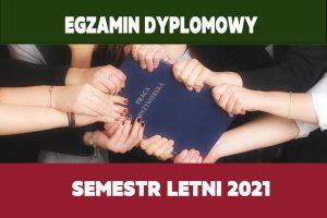 Egzaminy dyplomowe w semestrze letnim 2021
